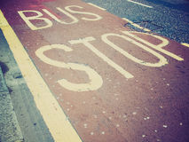 Retro look Bus stop sign Royalty Free Stock Photography
