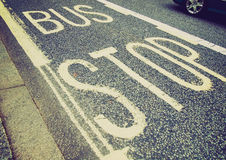 Retro look Bus stop sign Royalty Free Stock Image