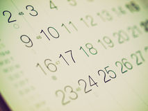 Retro look Calendar Royalty Free Stock Photo