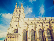 Retro look Canterbury Cathedral Stock Photography