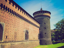 Retro look Castello Sforzesco, Milan Royalty Free Stock Images
