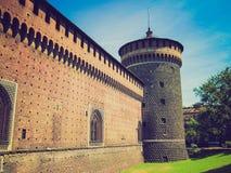 Retro look Castello Sforzesco, Milan Royalty Free Stock Images