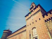 Retro look Castello Sforzesco, Milan Stock Photos