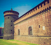 Retro look Castello Sforzesco, Milan Stock Photography