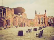 Retro look Coventry Cathedral ruins Royalty Free Stock Photography