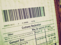 Retro look Customs declaration Stock Photography