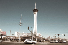 Retro look at Downtown, Las Vegas, NV. Retro look at McDonalds and the Stratosphere in downtown Las Vegas, NV Stock Photography