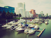Retro look Duesseldorf harbour Germany Royalty Free Stock Photo