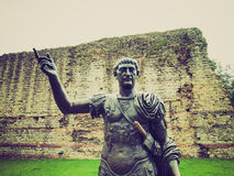 Retro look Emperor Trajan Statue Royalty Free Stock Photography