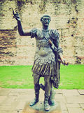 Retro look Emperor Trajan Statue Stock Photo