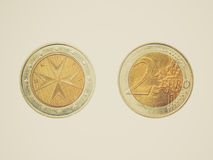 Retro look Euro coin from Malta. Vintage looking Two Euro coin from the Republic of Malta, Europe Stock Images
