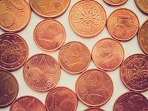 Retro look Euro coins Royalty Free Stock Photo