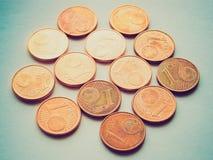 Retro look Euro coins Royalty Free Stock Photos