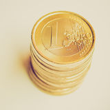 Retro look Euro coins Stock Image