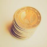Retro look Euro coins Stock Photography