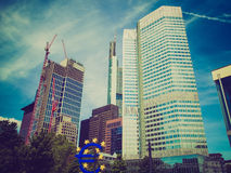 Retro look European Central Bank in Frankfurt Stock Photos