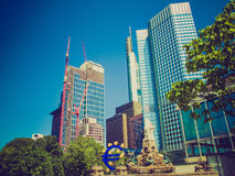 Retro look European Central Bank in Frankfurt Royalty Free Stock Photography