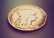 Retro look France coin Stock Photography