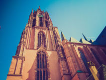 Retro look Frankfurt Cathedral Stock Photo