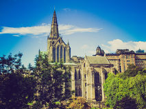 Retro look Glasgow cathedral Stock Image