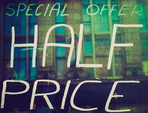Retro look Half price Royalty Free Stock Images