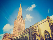 Retro look Holy Trinity Church, Coventry Stock Image