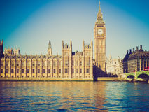 Retro look Houses of Parliament, London Stock Photo