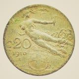 Retro look Italian coin Stock Image