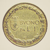 Retro look Italian coin Royalty Free Stock Image