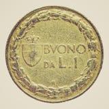 Retro look Italian coin Royalty Free Stock Image