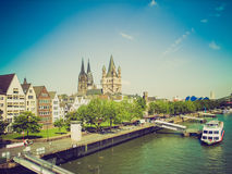 Retro look Koeln panorama Royalty Free Stock Photography