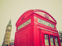 Retro look London telephone box Stock Image