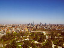 Retro look Milan aerial view Stock Image