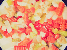 Retro look Mixed vegetables Royalty Free Stock Images