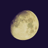 Retro look Moon. Vintage looking Moon almost full seen from the northern hemisphere with a telescope Royalty Free Stock Photography
