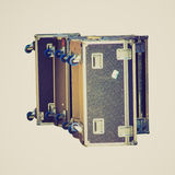 Retro look Music instruments case for travelling artists Royalty Free Stock Photo
