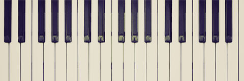 Retro look Music keyboard. Vintage looking Black and white keys on music keyboard Royalty Free Stock Images