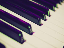 Retro look Music keyboard. Vintage looking Detail of black and white keys on music keyboard - selective focus stock images