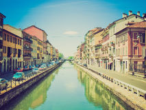 Retro look Naviglio Grande, Milan Royalty Free Stock Photo