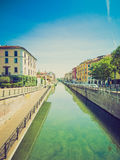 Retro look Naviglio Grande, Milan Stock Images