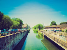 Retro look Naviglio Grande, Milan Stock Photo