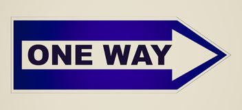 Retro look One way sign Royalty Free Stock Images