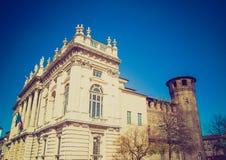 Retro look Palazzo Madama Turin Royalty Free Stock Photos