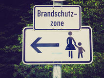 Retro look Pedestrian area sign Royalty Free Stock Image