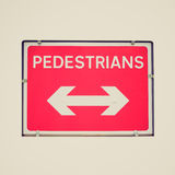Retro look Pedestrian sign Stock Photo