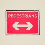 Retro look Pedestrian sign Stock Photo