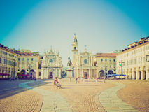 Retro look Piazza San Carlo, Turin Royalty Free Stock Image