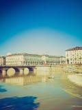 Retro look Piazza Vittorio, Turin Stock Images