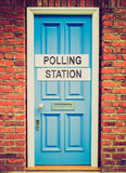Retro look Polling station. Vintage looking Polling station place for voters to cast ballots in elections Stock Photos