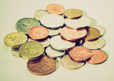Retro look Pounds picture. Vintage looking Range of British Pounds coins (UK currency Stock Photo